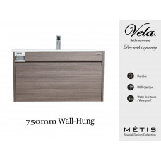 750x460x550mm Rough Grey Wall-Hung Vanity with Polymarble Basin