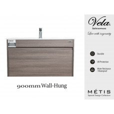 900x460x550mm Rough Grey Wall-Hung Vanity with Polymarble Basin