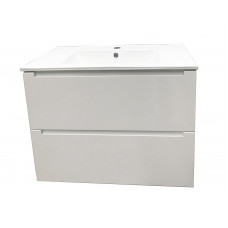 750mm White Sonoma Oak Wall Hung Vanity Units Cabinet Single Ceramic B..