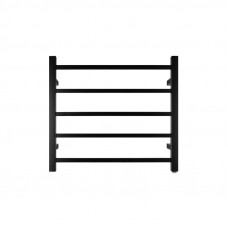 530Hx600Wx120Dmm Square Matt Black Electric Heated Towel Rack 5 Bars
