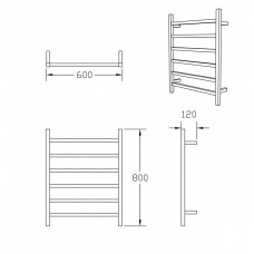 800Hx600Wx120D Chrome Electric Heated Towel Rack 6 Bars