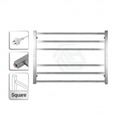 600Hx850Wx120D Square Chrome Electric Heated Towel Rack 6 Bars
