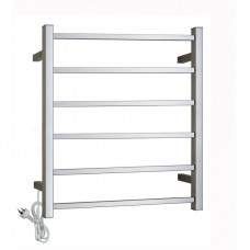 674Hx600Wx120D Square Chrome Electric Heated Towel Rack 6 Bars
