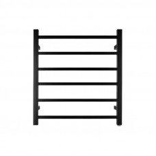 674x620x120mm Square Nero Black Electric Heated Towel Rack 6 Bars