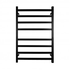 620x912x120m Square Nero Black Electric Heated Towel Rack 8 Bars