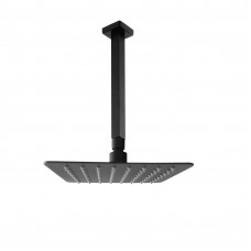 8 Inch Slim Square Nero Black Rainfall Shower Head 400mm Ceiling Arm S..